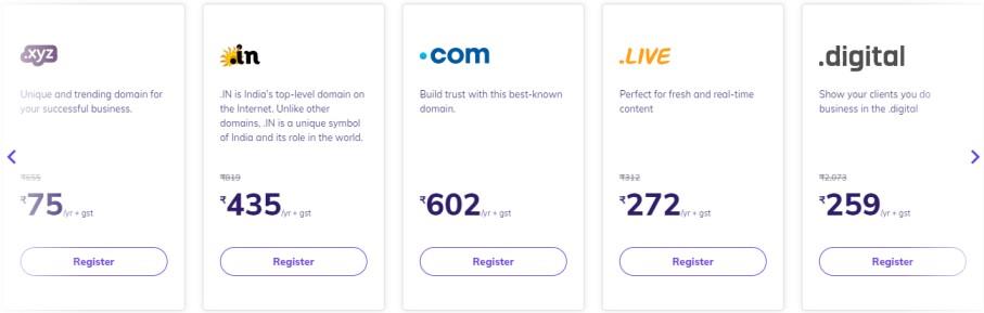 Hostinger Domain Prices