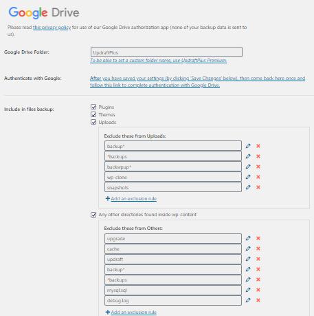 Select Google Drive Options:-