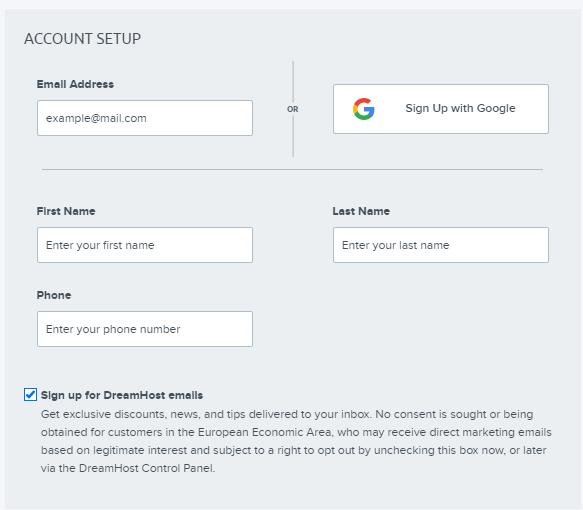 Dreamhost Account Setup