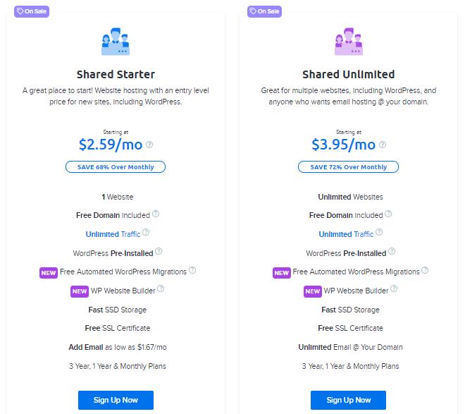 Dreamhost Shared web hosting Plans