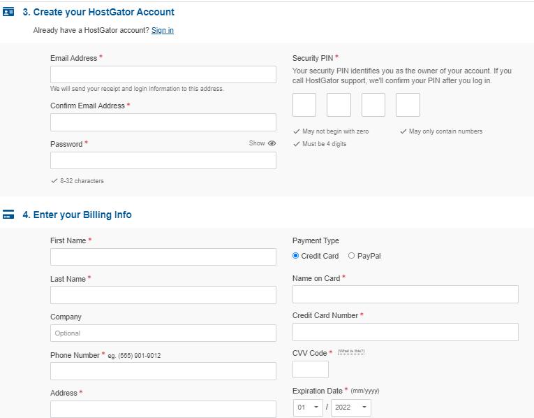 Create your HostGator Account