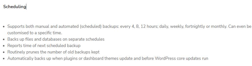 UpdraftPlus Plugin Scheduling Option