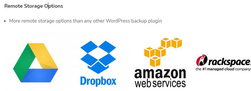 UpdraftPlus Plugin Remote Storage Options