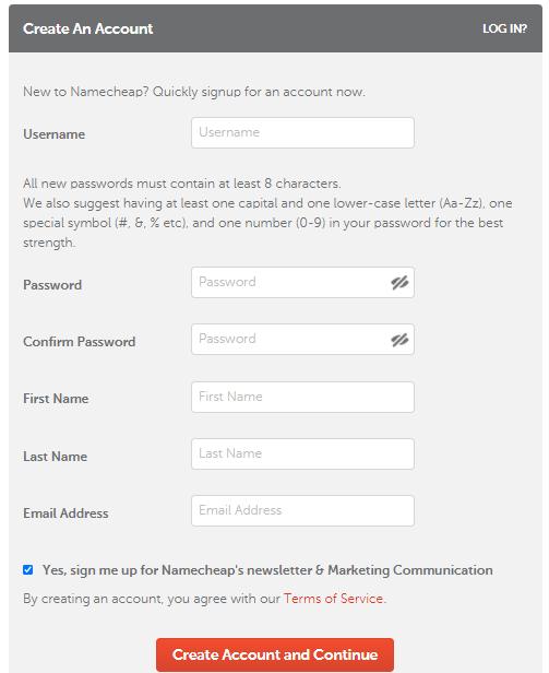 Create your Namecheap Account